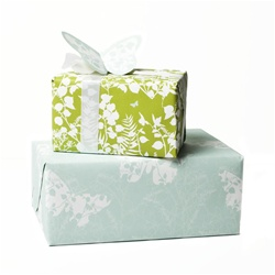 "100%  Recycled gift wrap, 24""x56"", Double Sided Madame Butterfly Design"