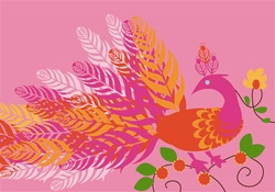 NEV60006 Note Cards - Pink Peacock